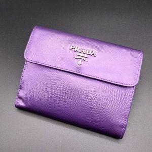 💜 PRADA Small Purple Metallic Bi-Fold Wallet 💜
